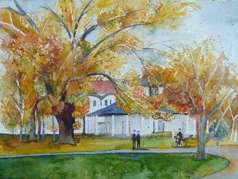 Weißer Pavillon im Herbst (c) ein Aquarell vom Doberaner Kamp - Frank Koebsch