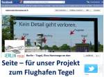 Seite für unser Projekt Flughafen Tegel auf Facebook (c) Frank Koebsch