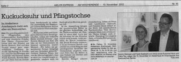 Kuckucksuhr und Pfingstochse  als Sternzeichen -  Kieler Express vom 10. November 2012