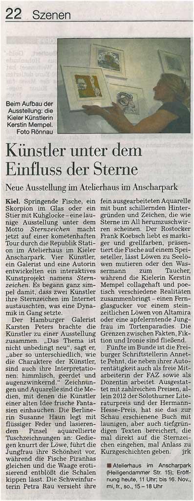 Unsere Sternzeichen in Kieler Nachrichten vom 2012 11 03