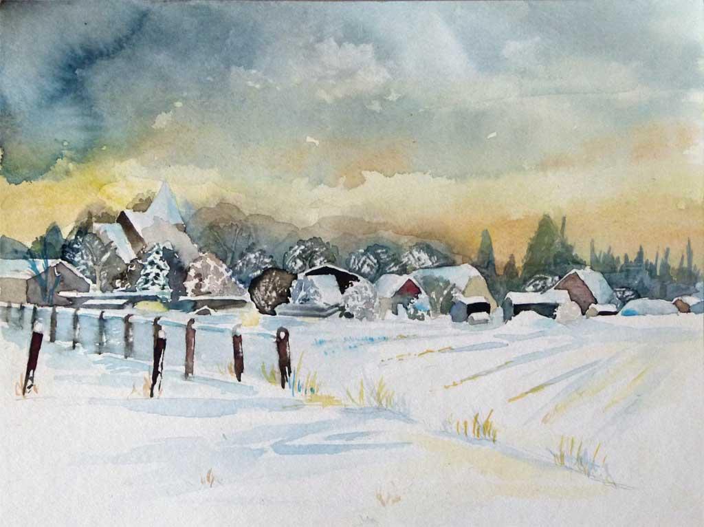 Ein winter aquarell aus ahrenshoop bilder aquarelle vom meer mehr von frank koebsch - Aquarell weihnachten ...