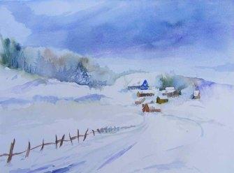 Winterweg (c) Aquarell von Hanka Koebsch