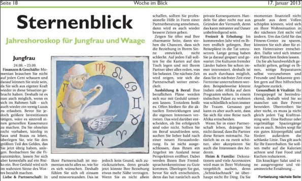 Jahreshoroskop Jungfrau in der WiB
