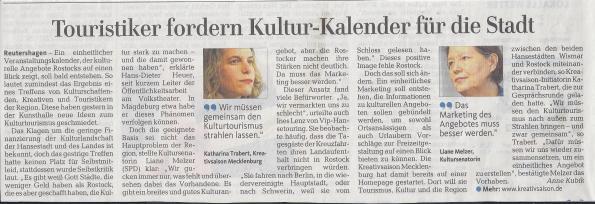 Die Ostsee Zeitung berichtet über die Podiumsdiskussion Tourismus mit Kultur machen, OZ 2013 01 31, S.12