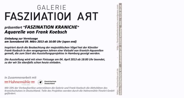 Einladungskarte Faszination Kraniche - Rückseite (c) Frank Koebsch