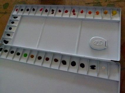 Aquarellfarben von Mijello auf der Palette (c) Frank Koebsch