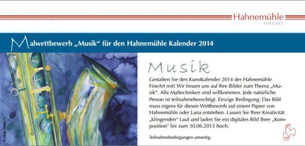 Malwettbewerb - Musik - für Hahnemühle Kalender 2014