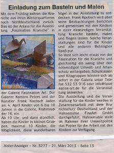 Einladung zum Basteln und Malen von Kranichen - AlsterAnzeiger 2013 03 21