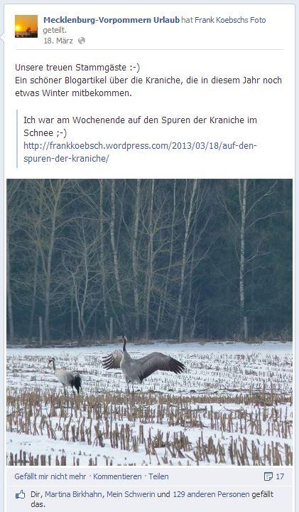 nteresse an meinen Kranichen im Schnee auf Facebook