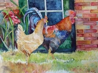 glückliche Hühner (c) Aquarell von Frank Koebsch K.