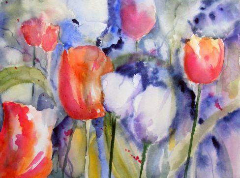 Tulpen machen gute Laune (c) Aquarell von Hanka Koebsch