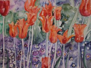 Tulpenmeer (c) Aquarell von Hanka Koebsch