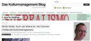 Einladung zum Treffpunkt Kulturmanagement -  Social Media. Auch wer alleine ist hat Chancen