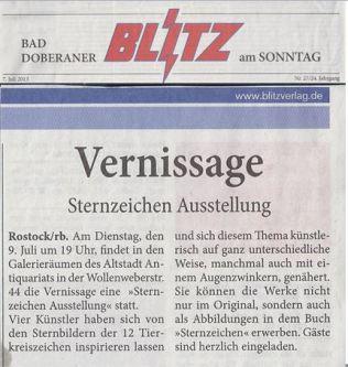 Einladung zur Vernissage der Sternzeichen Ausstellung - Blitz 2013 07 07