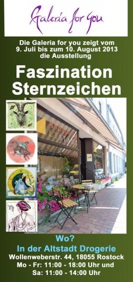 Flyer für die Sternzeichen Ausstellung in der Rostocker Altstadt Galerie (1)