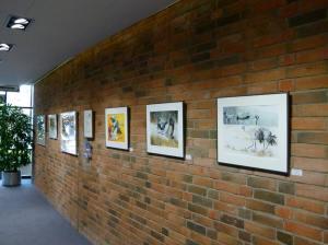Meine Kranich Aquarelle im Haus der SWR vor der Eröffnung (c) Frank Koebsch (2)