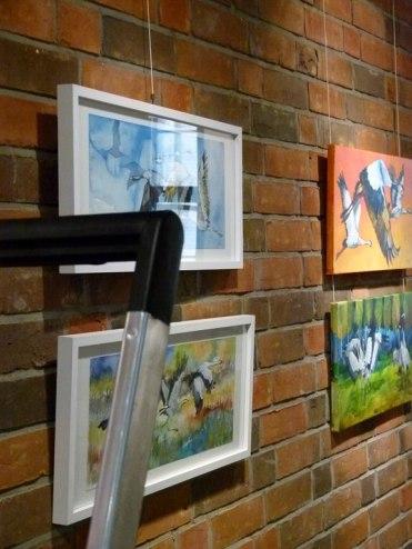Meine Kranich Aquarelle im Haus der SWR vor der Eröffnung (c) Frank Koebsch (4)