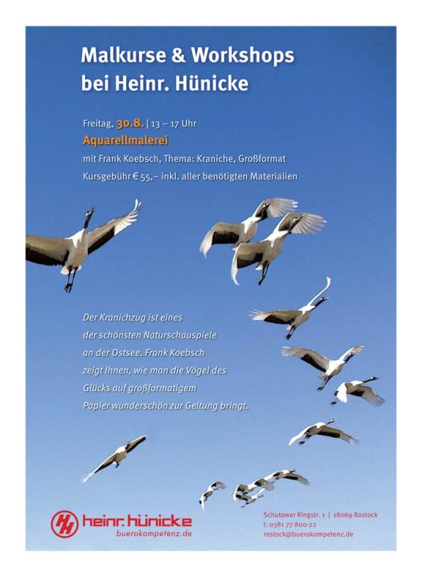 Aquarellkurs Faszination Kraniche mit Frank Koebsch bei Heinr. Hünicke Rostock