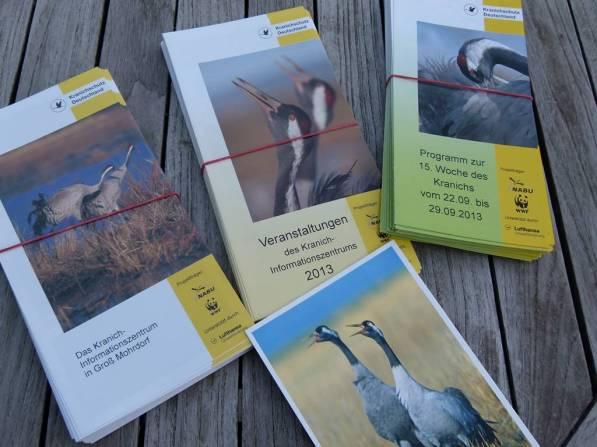 Infomaterial der Kranich Informationszentrums Groß Mohrdorf