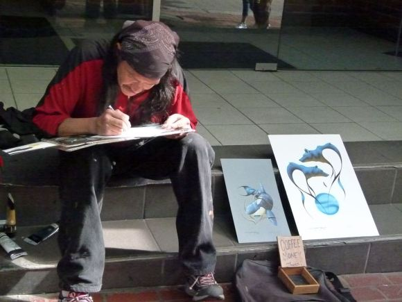 Vancouver - Straßenkünstler in der Waterstreet Gastowns (c) Frank Koebsch (2)