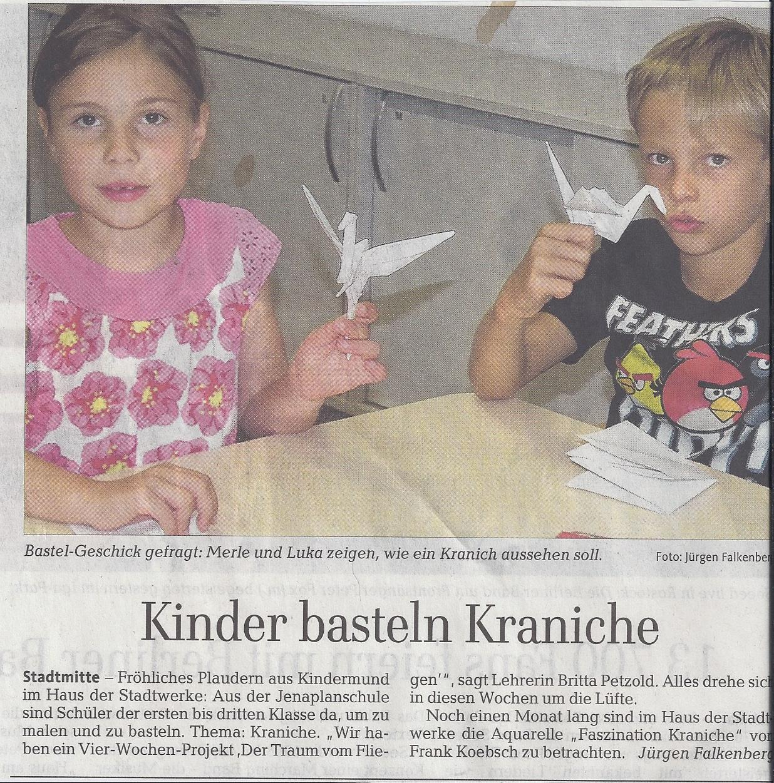 Kinder basteln mit Frank Koebsch Kraniche - OstseeZeitung 2013 08 31