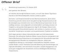 Auszug aus dem Offenen Brief Kreativen an Herrn Glawe / alles-mv.de