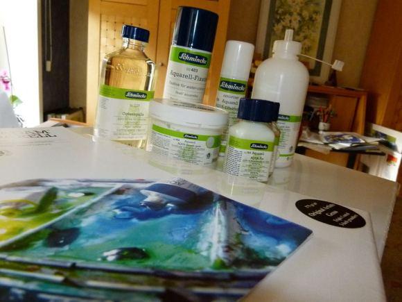 Hilfsmittel für die Aquarellmalerei auf Leinwand (c) Frank Koebsch