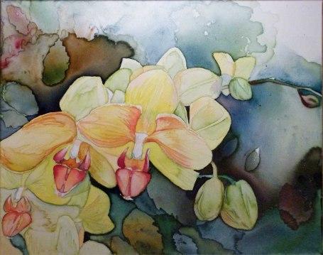 Orchideentraum (c) Aquarell auf Leinwand von Frank Koebsch