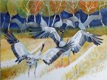 Wenn es Herbst wird (c) ein Kranich Aquarell von Frank Koebsch