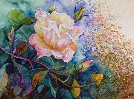 Die letzten Blüten Im Herbst (c) ein Rosen Aquarell von FRank Koebsch