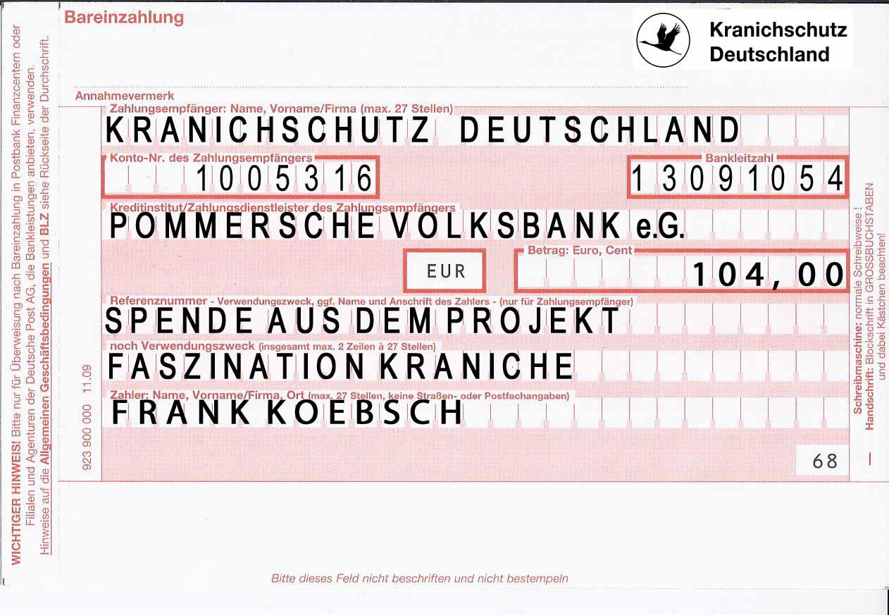 Spende aus dem Projekt Faszination Kraniche (c) Frank Koebsch