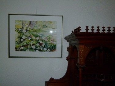 Buschwindröschen Aquarell in der Ausstellung Frühling im Land (c) FRank Koebsch