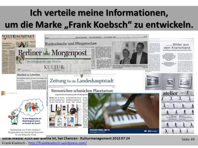 Social Web - Ich verteile meine Informationen, um die Marke - Frank Koebsch - zu entwickeln. (c) Frank Koebsch