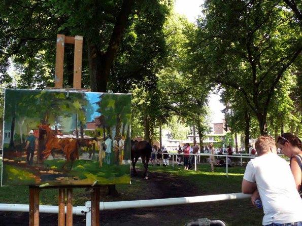 Maike Josupait malt plain air auf der Galopprennbahn Hoppegarten (c) Maike Josupeit