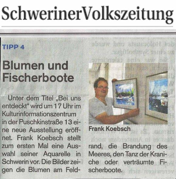 Aquarelle von Frank Koebsch ein Veranstaltungstipp in der SVZ