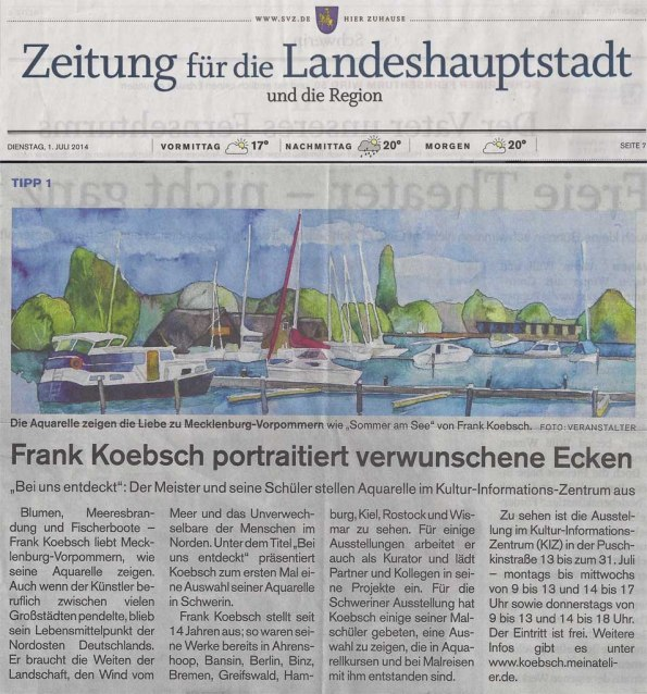 Frank Koebsch portraitiert verwunschene Ecken - SVZ - 2014 07 01