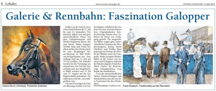Gallerie & Rennbahn. Faszination Galopper im OSTSEE-ANZEIGER 2014 07 09