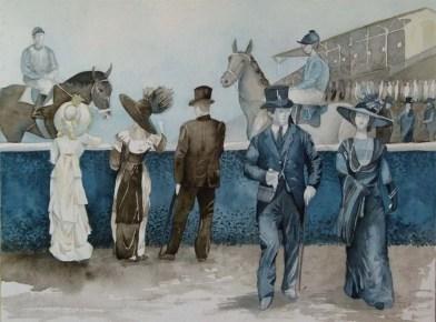Traditionelles beim Galopprennen (c) Aquarell von Frank Koebsch