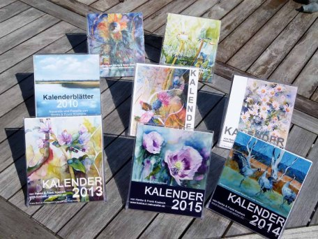 Unsere Kalender mit Aquarellen und Pastellen von 2008 - 2015 (c) Frank Koebsch