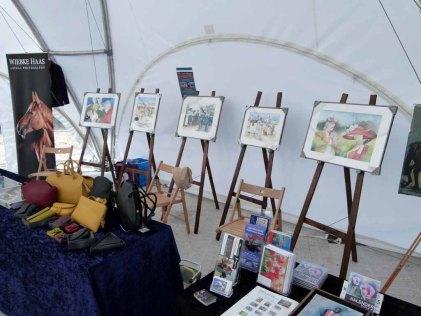 Aquarelle von Frank Koebsch in der Ausstellung Faszination Galopper auf derm Ostsee meeting 2014 (c) Frank Koebsch