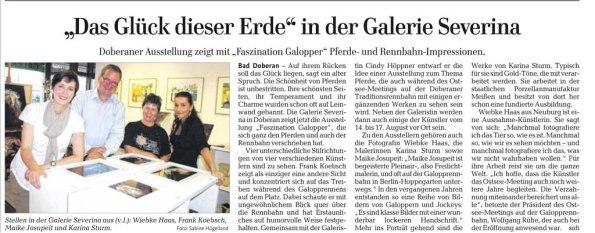 Das Glück dieser Erde in der Galerie Severina - Ostsee Zeitung 2014 07 22