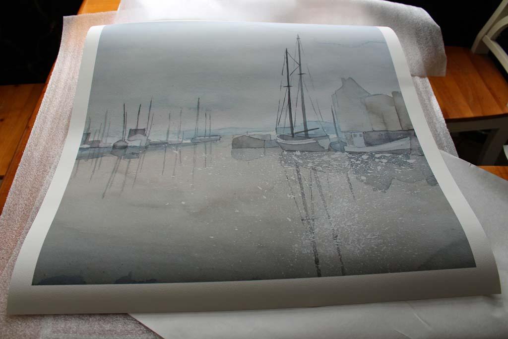 Druck des Aquarells - Morgenstimmung im Hafen - auf Hahnemühle Papier - Albrecht Dürer (c) Frank Koebsch