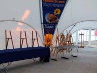 erste Schritte zum Aufbauen der Ausstellung Faszination Galopper (c) Frank Koebsch