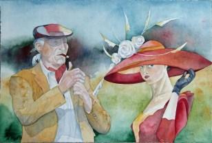 Kritische Blicke beim Ladies Day (c) Aquarell von Frank Koebsch