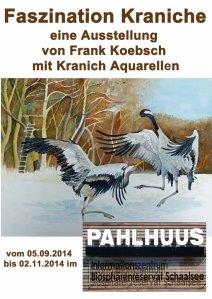Plakat für die Ausstellung von Kranich Aquarellen von Frank Koebsch im Biosphärenreservat Schaalsee
