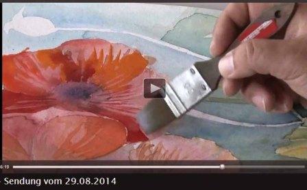 TV Rostock berichtet über Aquarellkurse von Frank Koebsch an der VHS Rostock - 2014 08 29 (3)