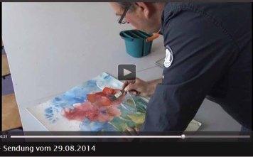 TV Rostock berichtet über Aquarellkurse von Frank Koebsch an der VHS Rostock - 2014 08 29 (4)