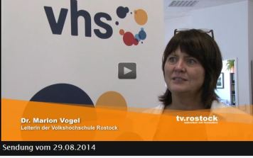 TV Rostock berichtet über den Tag der offenen Tür der VHS Rostock - Frau Dr. Marion Vogel im Interview - 2014 08 29
