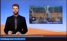 TV Rostock berichtet über den Tag der offenen Tür der VHS Rostock - Meine Kranich Aquarelles sind dabei - 2014 08 29