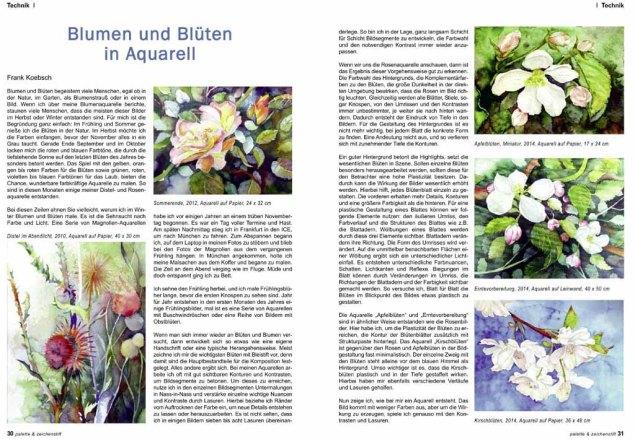 Blumen und Blüten in Aquarell - ein Artikel von Frank Koebsch in der Palette 5 -2014